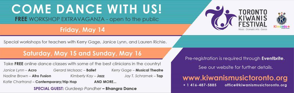 Toronto Kiwanis Festival Dance Workshop Banner
