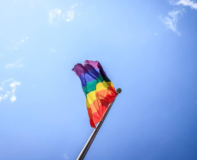 Pride flag blowing in the wind
